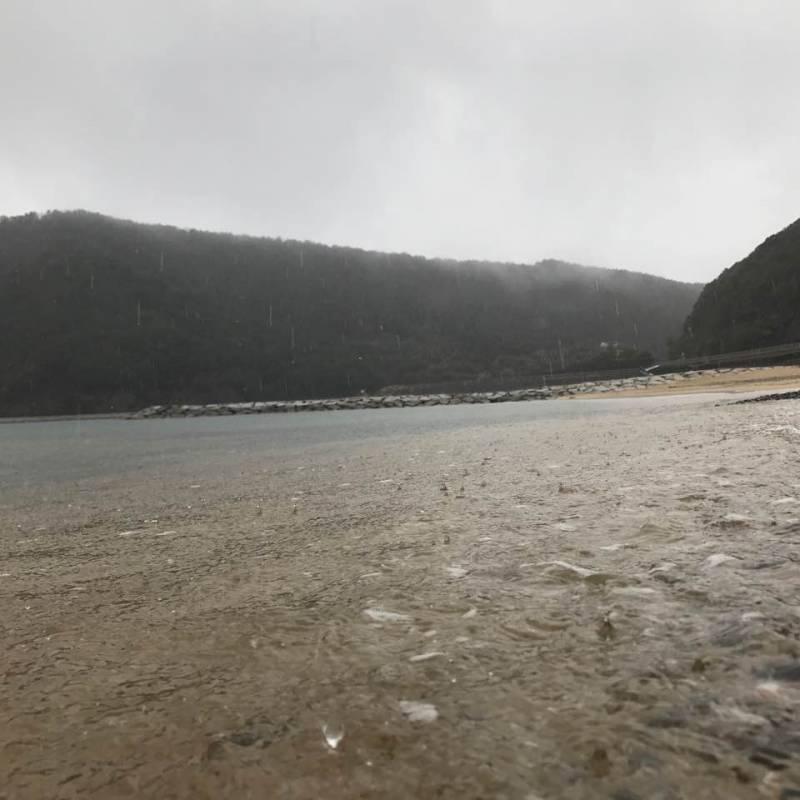 雨の海岸。