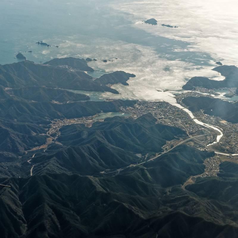 紀北町紀伊長島地区の上空から見る「ホテル季の座」